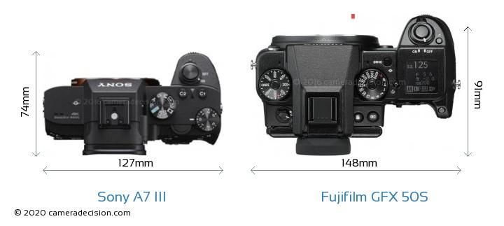 Sony A7 III vs Fujifilm GFX 50S Camera Size Comparison - Top View