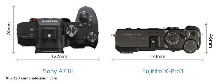 Sony A7 III vs Fujifilm X-Pro3 Camera Size Comparison - Top View