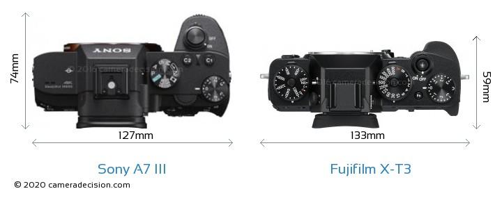 Sony A7 III vs Fujifilm X-T3 Camera Size Comparison - Top View