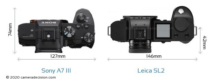 Sony A7 III vs Leica SL2 Camera Size Comparison - Top View
