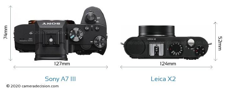 Sony A7 III vs Leica X2 Camera Size Comparison - Top View