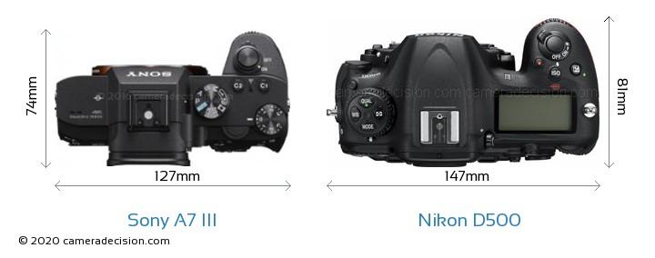 Sony A7 III vs Nikon D500 Camera Size Comparison - Top View