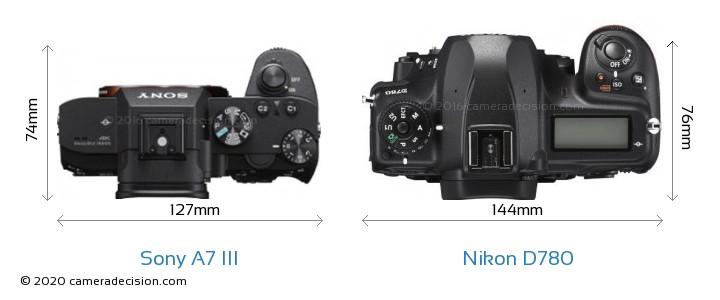 Sony A7 III vs Nikon D780 Camera Size Comparison - Top View