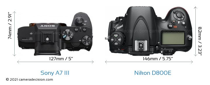 Sony A7 III vs Nikon D800E Camera Size Comparison - Top View