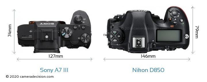 Sony A7 III vs Nikon D850 Camera Size Comparison - Top View