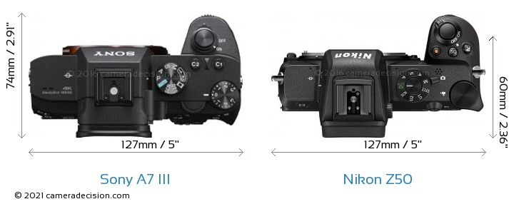 Sony A7 III vs Nikon Z50 Camera Size Comparison - Top View