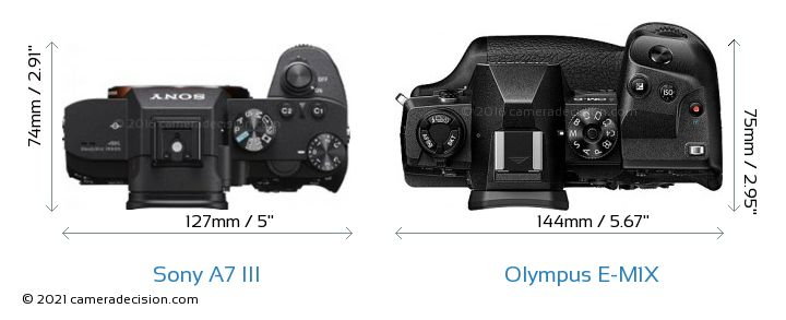 Sony A7 III vs Olympus E-M1X Camera Size Comparison - Top View