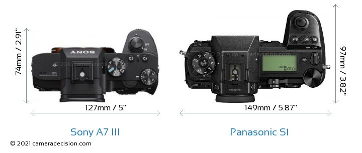 Sony A7 III vs Panasonic S1 Camera Size Comparison - Top View