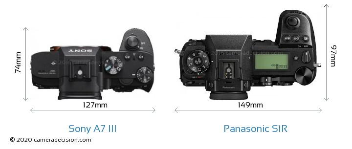 Sony A7 III vs Panasonic S1R Camera Size Comparison - Top View