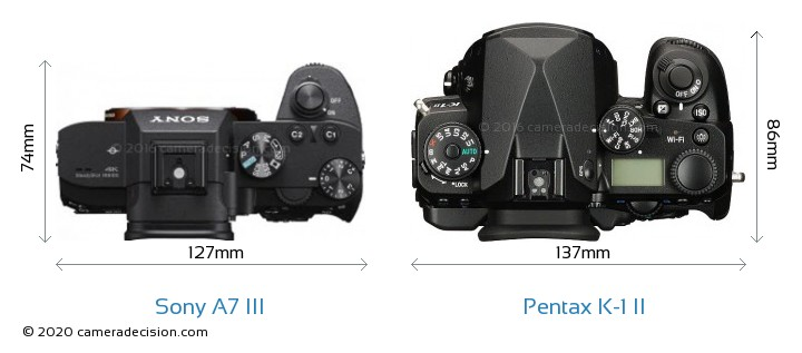 Sony A7 III vs Pentax K-1 II Camera Size Comparison - Top View