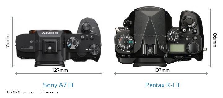 Sony A7 III vs Pentax K-1 II Camera Size Comparison - Top View