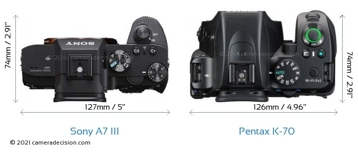 Sony A7 III vs Pentax K-70 Camera Size Comparison - Top View