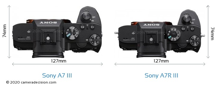 Sony A7 III vs Sony A7R III Camera Size Comparison - Top View