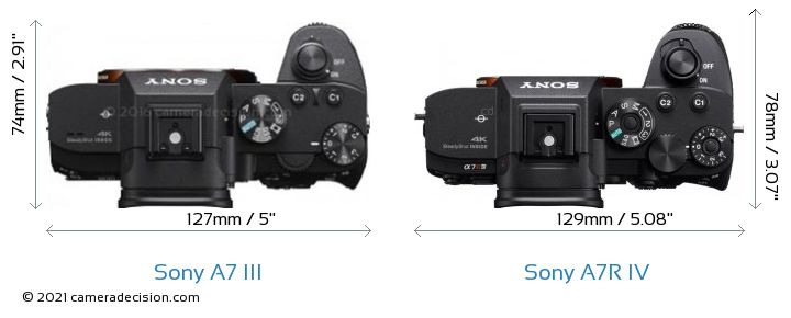 Sony A7 III vs Sony A7R IV Camera Size Comparison - Top View