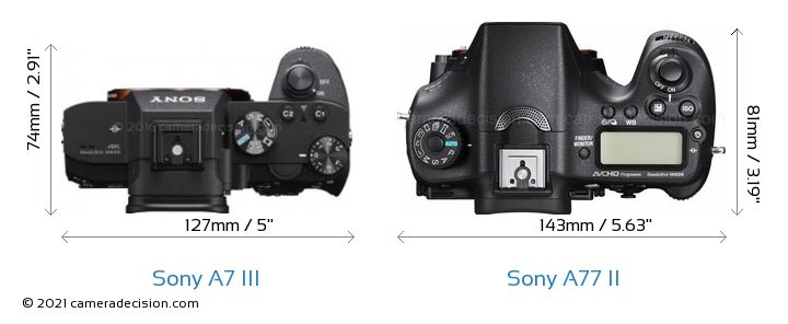 Sony A7 III vs Sony A77 II Camera Size Comparison - Top View