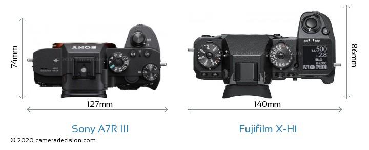 Sony A7R III vs Fujifilm X-H1 Camera Size Comparison - Top View