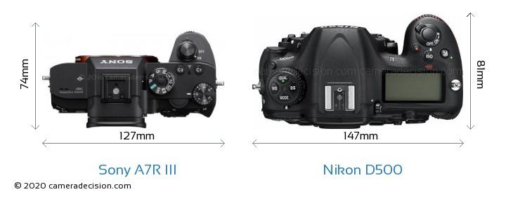 Sony A7R III vs Nikon D500 Camera Size Comparison - Top View