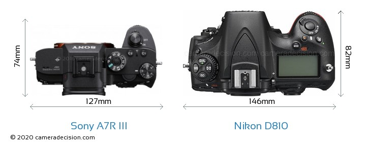 Sony A7R III vs Nikon D810 Camera Size Comparison - Top View