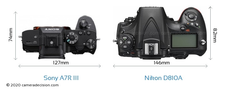 Sony A7R III vs Nikon D810A Camera Size Comparison - Top View