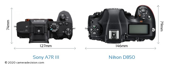 Sony A7R III vs Nikon D850 Camera Size Comparison - Top View