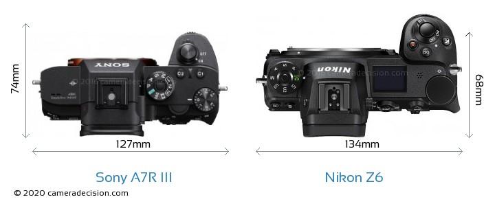 Sony A7R III vs Nikon Z 6 Camera Size Comparison - Top View