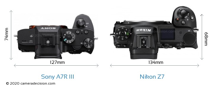 Sony A7R III vs Nikon Z 7 Camera Size Comparison - Top View