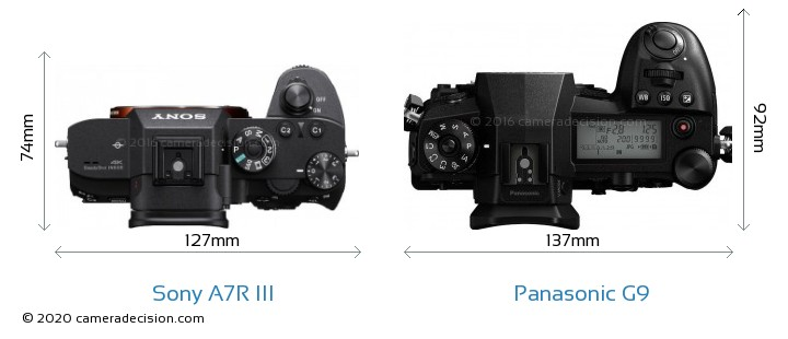 Sony A7R III vs Panasonic G9 Camera Size Comparison - Top View