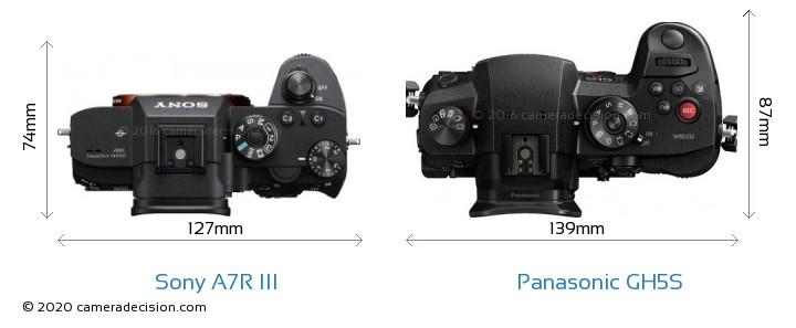 Sony A7R III vs Panasonic GH5S Camera Size Comparison - Top View
