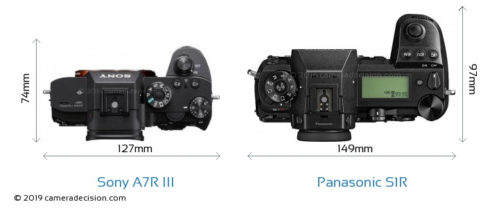 Sony A7R III vs Panasonic S1R Camera Size Comparison - Top View
