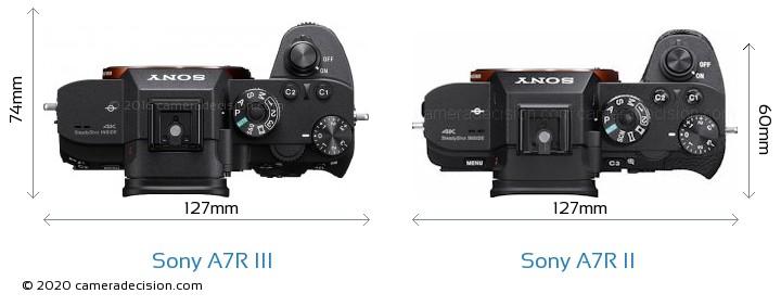 Sony A7R III vs Sony A7R II Camera Size Comparison - Top View