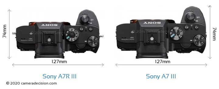 Sony A7R III vs Sony A7 III Camera Size Comparison - Top View
