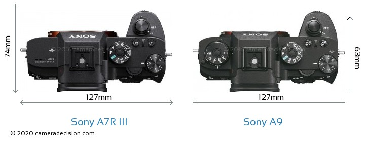 Sony A7R III vs Sony A9 Camera Size Comparison - Top View