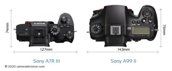 Sony A7R III vs Sony A99 II Camera Size Comparison - Top View
