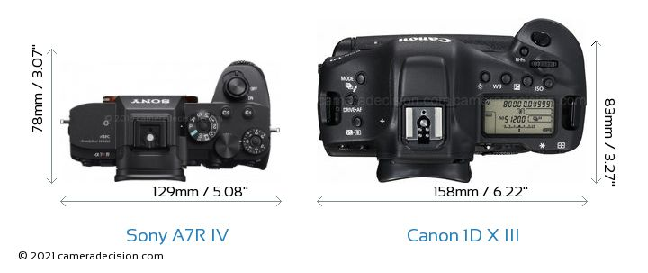 Sony A7R IV vs Canon 1D X III Camera Size Comparison - Top View