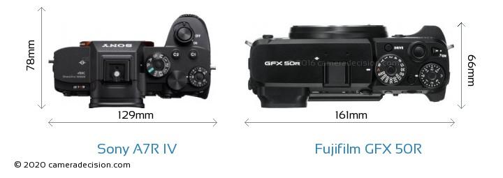 Sony A7R IV vs Fujifilm GFX 50R Camera Size Comparison - Top View