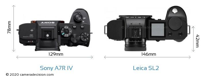 Sony A7R IV vs Leica SL2 Camera Size Comparison - Top View
