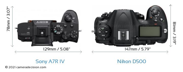 Sony A7R IV vs Nikon D500 Camera Size Comparison - Top View