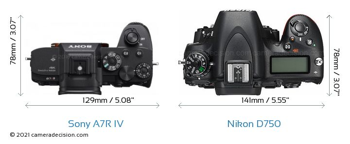 Sony A7R IV vs Nikon D750 Camera Size Comparison - Top View