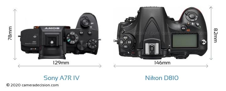 Sony A7R IV vs Nikon D810 Camera Size Comparison - Top View