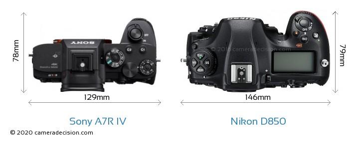 Sony A7R IV vs Nikon D850 Camera Size Comparison - Top View
