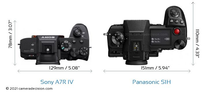 Sony A7R IV vs Panasonic S1H Camera Size Comparison - Top View