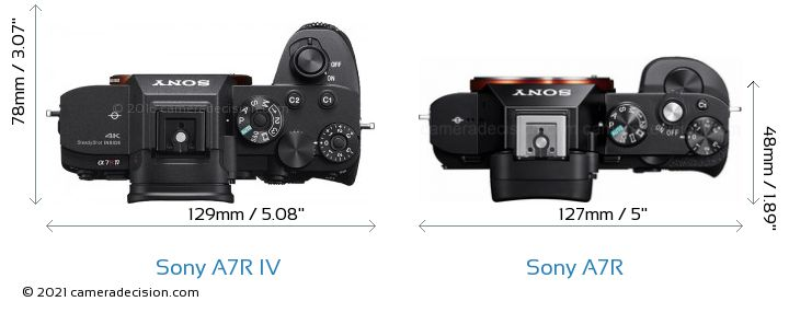 Sony A7R IV vs Sony A7R Camera Size Comparison - Top View