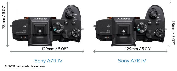 Sony A7R IV vs Sony A7R IV Camera Size Comparison - Top View