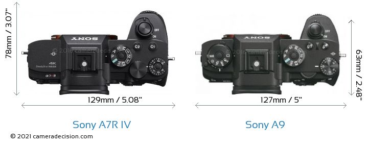 Sony A7R IV vs Sony A9 Camera Size Comparison - Top View