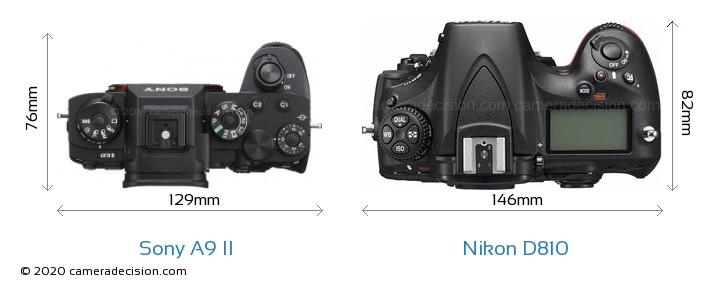 Sony A9 II vs Nikon D810 Camera Size Comparison - Top View