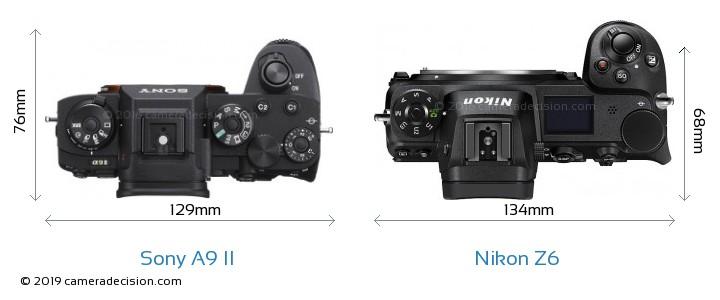 Sony A9 II vs Nikon Z6 Camera Size Comparison - Top View
