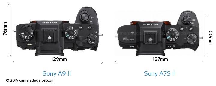 Sony A9 II vs Sony A7S II Camera Size Comparison - Top View