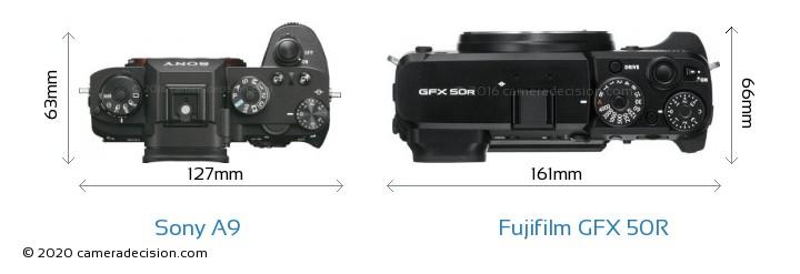 Sony A9 vs Fujifilm GFX 50R Camera Size Comparison - Top View