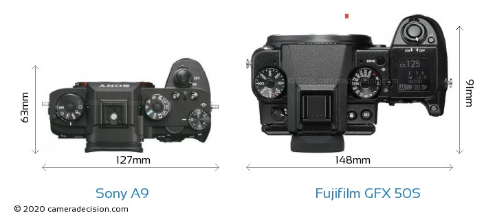 Sony A9 vs Fujifilm GFX 50S Camera Size Comparison - Top View