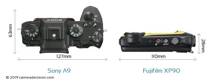 Sony A9 vs Fujifilm XP90 Camera Size Comparison - Top View